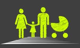 Familie die de weg kruisen Royalty-vrije Stock Afbeelding