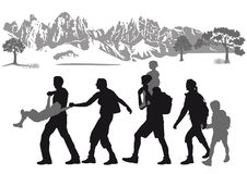 Familie Die In Den Bergen Wandert Vektor Abbildung