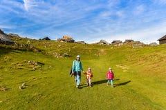 Familie, die in den Bergen wandert Stockfotografie