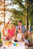 Familie, die den Geburtstag im Freien feiert lizenzfreie stockfotografie