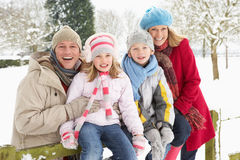Familie, die in der Snowy-Landschaft sitzt Stockbild