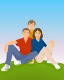 Familie, die in der Wiese sitzt lizenzfreie abbildung