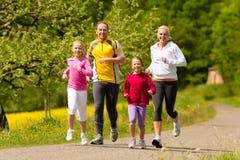 Familie, die in die Wiese für Sport läuft Lizenzfreie Stockfotografie