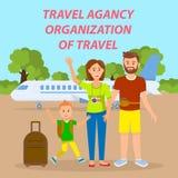 Familie die door Vliegtuig Sociale Media Banner reizen stock illustratie