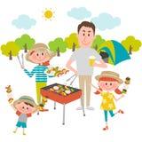 Familie, die draußen Grill genießt lizenzfreie abbildung