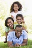 Familie, die draußen lächelnd liegt Lizenzfreie Stockfotos