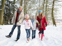Familie, die durch Snowy-Waldland geht Lizenzfreies Stockfoto