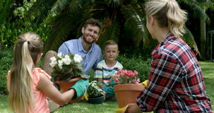 Familie die een bespreking hebben terwijl samen het tuinieren stock footage