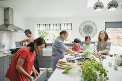 Familie die een Stir Gebraden gerecht samen voorbereiden royalty-vrije stock afbeeldingen