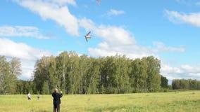 Familie die een vlieger in het hout vliegen stock videobeelden