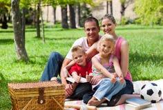 Familie, die ein Picknick hat, an der Kamera zu lächeln Stockfotografie