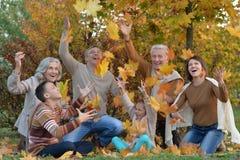 Familie, die im Herbstpark sich entspannt stockbild