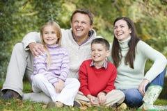 Familie, die im Holz sich entspannt lizenzfreie stockfotografie