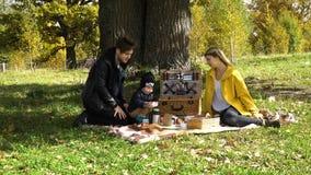 Familie, die im Park picnicking ist Stockfotografie