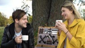 Familie, die im Park picnicking ist Lizenzfreie Stockfotografie
