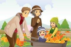Familie, die Kürbisänderung am objektprogramm tut Lizenzfreies Stockfoto