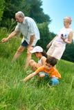 Familie, die nach Insekten sucht Stockfoto