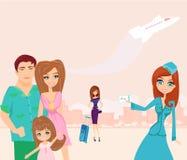 Familie die op een vakantie gaan Stock Foto