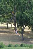 Familie die op kabel in avonturenpark beklimmen Royalty-vrije Stock Foto
