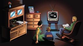 Familie die op TV let Royalty-vrije Stock Afbeelding