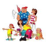 Familie die op vakantie gaat Royalty-vrije Illustratie
