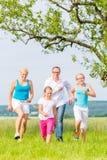 Familie die over gebied of gazon in de zomer lopen stock foto's