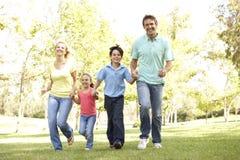 Familie, die in Park läuft lizenzfreie stockfotos