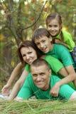 Familie die in park rusten Stock Afbeeldingen