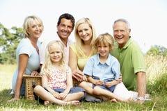 Familie, die Picknick in der Landschaft hat Stockbilder