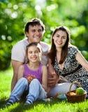 Familie, die Picknick draußen hat lizenzfreie stockfotografie