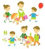 Familie die, picknick winkelen vector illustratie