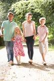 Familie die in Platteland samen loopt royalty-vrije stock afbeelding