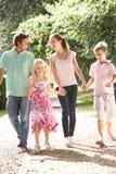 Familie die in Platteland samen loopt stock fotografie