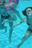 Familie die in pool duikt Stock Afbeeldingen