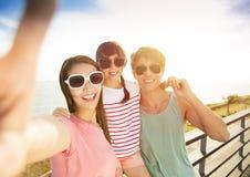 Familie die selfie op de zomervakantie nemen stock foto's