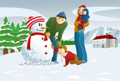 Familie die Sneeuwman maakt Stock Afbeelding