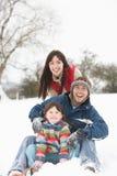 Familie, die Spaß in der Snowy-Landschaft hat Stockfoto