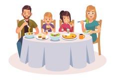 Familie, die Tabelle isst Glückliche Menschen essen Nahrungsmittelabendesseneltern, die Kinder Unterhaltungsillustration des Mutt stock abbildung