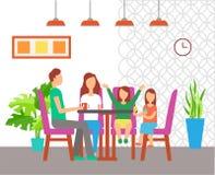 Familie die uit bij Lijst, Koffie Binnenlands Ontwerp eten vector illustratie