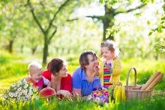 Familie die van picknick in bloeiende tuin genieten stock foto