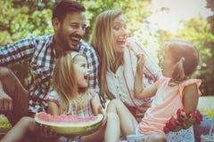 familie die van in picknick samen genieten Familie in weide Royalty-vrije Stock Afbeelding