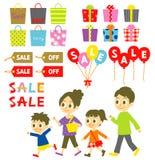 FAMILIE die, Verkoop, Prijskaartjes winkelen royalty-vrije illustratie