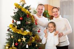 Familie die voor Kerstmis voorbereidingen treffen Stock Foto's
