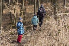Familie, die in Wald geht Lizenzfreie Stockbilder