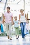 Familie die in wandelgalerij winkelt