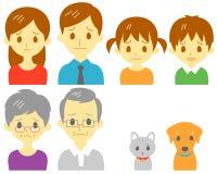 FAMILIE, droevige uitdrukking stock illustratie
