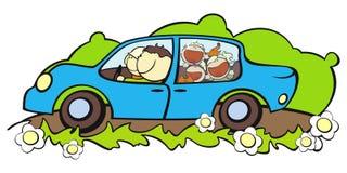 Familie in een auto Royalty-vrije Stock Afbeelding