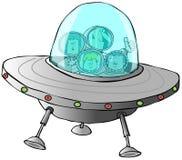 Familie in een UFO Stock Foto's