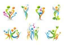 Familie, Elternteil, Gesundheit, Bildung, Logo, Parenting, Leute, Gesundheitswesensatz des Symbolikonen-Vektordesigns Lizenzfreie Stockfotos