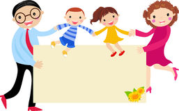 Familie en banner Stock Foto